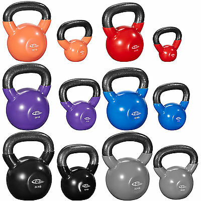 Cast Iron Kettlebell 2kg to 24kg venyl strength training home gym fitness