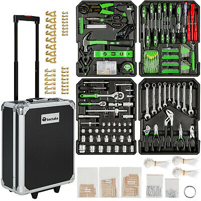 416 Pcs aluminium metal tool box with tools kit storage mobile trolley on wheels