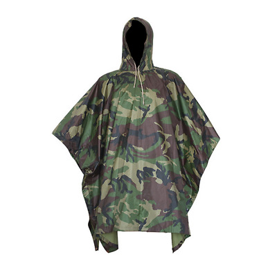 Men Outdoor Military Army Camo Raincoat Hooded Camping Hunting Waterproof Coat