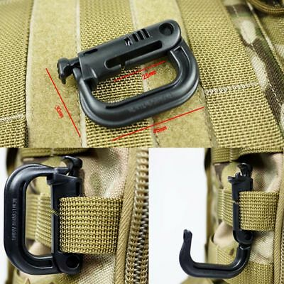 5PC Tactical Backpack Locking Molle Buckle EDC Carabiner Snap D-Ring Clip Hook