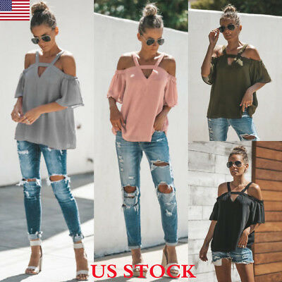 US Sexy Women Summer Loose Casual Off Shoulder Shirt Crop Tops Blouse Ladies Top