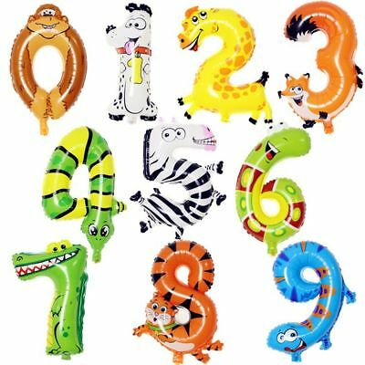Animals Number Foil Balloons Digit Helium Ballons Birthday Party Wedding Decor H