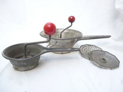 2 ANTIQUE FRENCH FOOD PROCESSORS MOULI LEGUMES & MOULI BABY - good condition