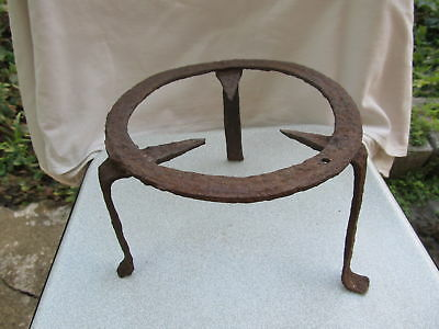 Antique Very Rare Old 19 Century Hand Forged Wrought Iron Trivet For Fireplace