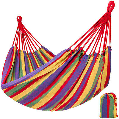 Hammock for outdoor with carry bag garden camping cotton swing travel lounger