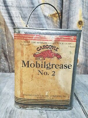 Mobil grease Gargoyle 5 pound oil can. Metal