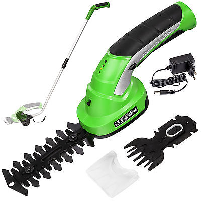 Cordless Hedge Trimmer & Grass Shear garden cutter shrub tool 7,2V Lithium ion