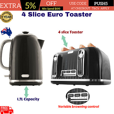 4 Slice Toaster Euro 1.7L Kettle Black Set Water Boiler Cordless Automatic Combo