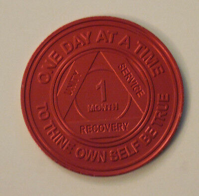 aa alcoholics anonymous alum 1 month recovery sobriety chip coin token medallion