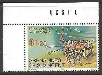 GRENADINES OF ST.VINCENT SG99w 1977 CRUSTACEANS $1.25 WMK CROWN TO RIGHT MNH