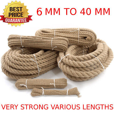 Natural Jute Rope Twisted Decking Cord Garden Boating Sash Camping 6 - 40MM BEST