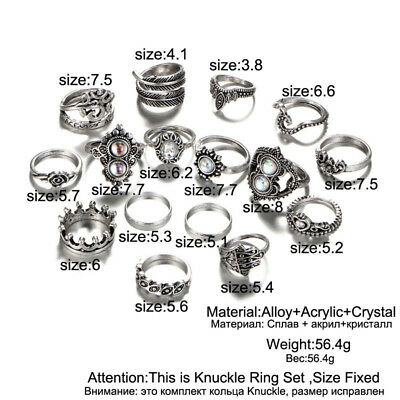 16PCS/Set Retro Women Bagues Finger Rings Flowers Heart Drop Anklet Jewelry Gift
