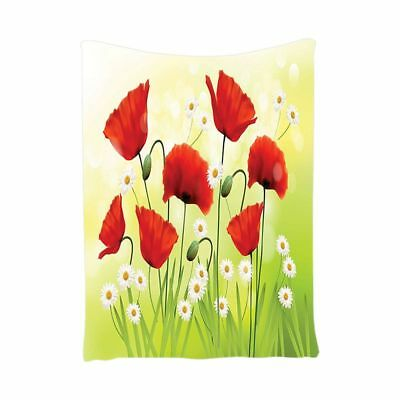 2X(Poppy Decor Tapestry, Spring Environment With Poppies And Daisies On The V8C5
