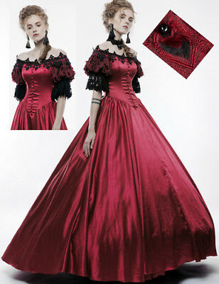 Ball Gown Dress Prom Princess Gothic Victorian Baroque Satin lace PunkRave Red