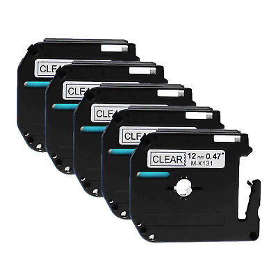5PK 12mm M-K131 MK131 Black on Clear Label Tape For Brother P-touch PT-55 PT-80