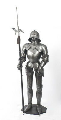 Antique 6 Ft Gothic-style Suit of Armour & Halberd  19th C