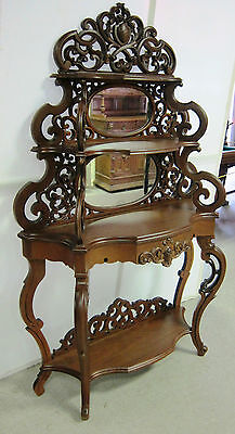 Antique French Style Walnut Elegere Hand Carved with Double Mirrors