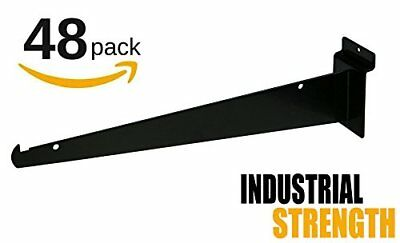 "New 12"" Slatwall Knife Shelf Brackets With Lip - Black 48pk"
