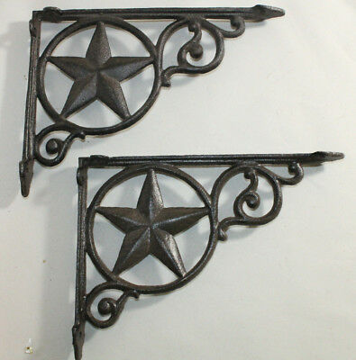 2 Shelf Garden Brackets Supports Cast Iron Brace Antique Style Star 7 x 9 1/2