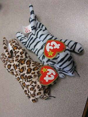 Jungle Cats!TY Teenie Beanie Babies FRECKLES the Leopard & BLIZZ the Snow Tiger!