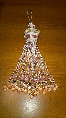 Victorian Christmas Ornament Beaded Pink Hanging Flowers Lace Set of 4