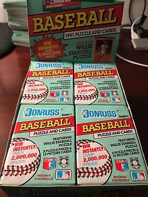 1991 DONRUSS Lot of 2 Unopened Wax Pack Of Baseball Cards Series 2