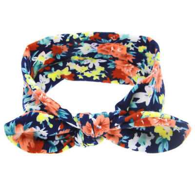 13 Colors Lovely Girls Print Floral Rabbit Ears Hairband Turban Knot Headband