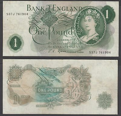 Great Britain 1 Pound 1966-70 (VF) Condition Banknote P-374e QEII (S37J)