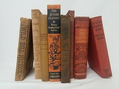Lot 8 DISTRESSED Vintage Books Rustic Raw Farmhouse Decor Centerpiece SHIPS FREE