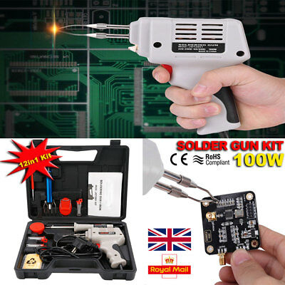 100W 12pcs Kit with Electric Soldering Iron Solder Gun Stand Magnifier Flux Case