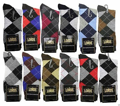 12 Pairs/1 Dozen Men Argyle Diamond Dress Socks Multi Color Size 10-13