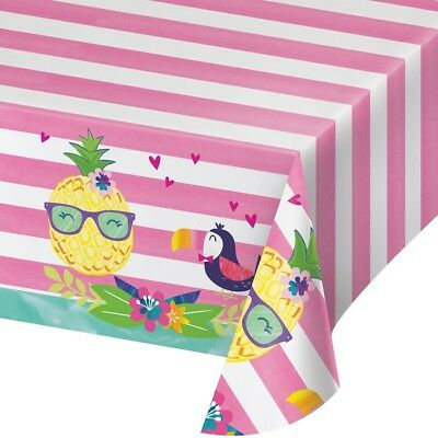 Pineapple Friends Plastic Party Table cover | Summer BBQ Luau Flamingo Toucan