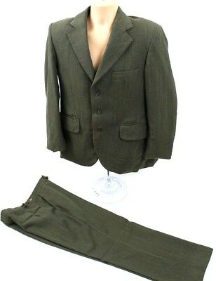 "DUNN CO Suit Green Brown Pinstripe Chest 42"" W34"" L24.5"" 100% Wool Vintage Mens"