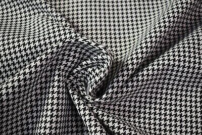 Vintage Black White Houndstooth Tweed Automotive Seat Fabric