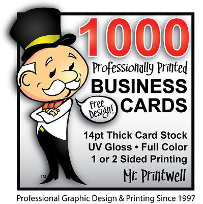 1000 Custom Full Color Business Cards | 14Pt | Glossy | Free Design & Shipping