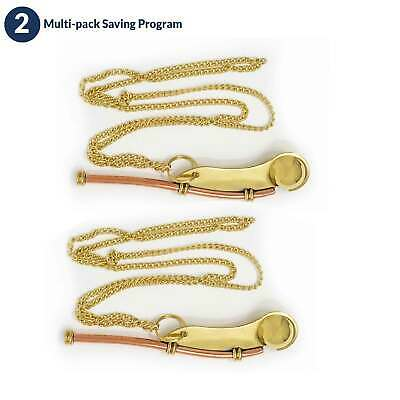 Solid Brass Bosun Boatswain Whistle Keychain, Pair Five Oceans FO-2224-M2