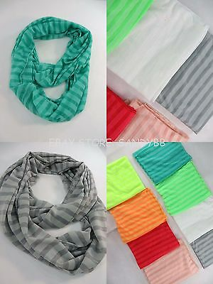 [US seller]3.25/pc, lot of 10 Stripes Jersy material double loop infinity scarf