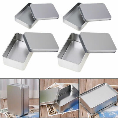 US Stock Small Metal Tin Silver Storage Box Case Organizer Durable Containers