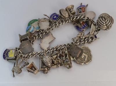 Large Solid Silver Ladies Charm Bracelet with Charms