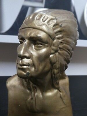 Vintage Americana Native Red Indian Chief Spelter Bust, Coated In Gold