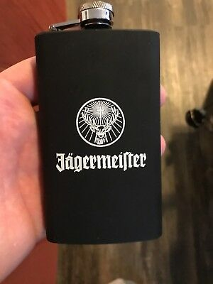 Jagermeister Black Hip Flask New Gift Bar Black anodized stainless steel