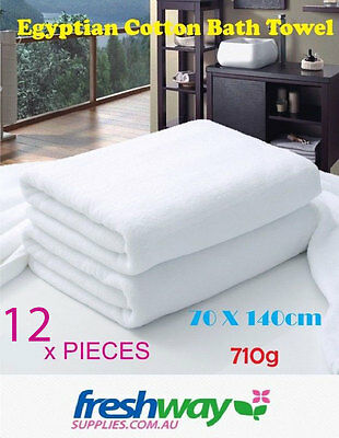 Bath Towels 12 Set 710GSM Premium Quality Pure Cotton Commercial White