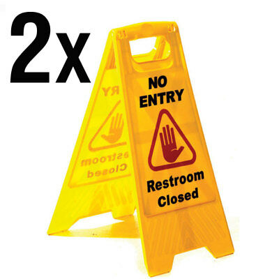 High visibility Warning No Entry Restroom Closed cleaning sign x2