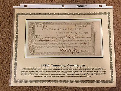 State of Connecticut £46:17:1 Treasury Certificate, June 1, 1780