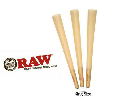 RAW Classic King Size Authentic Pre-Rolled Cones with Filter~50 Pack~FREE Gift
