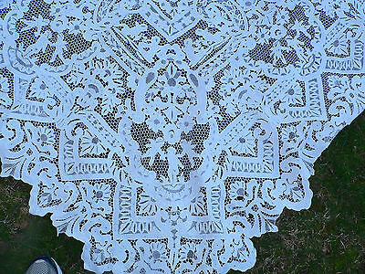 Antique Point de Venise Needle Lace Figural Tablecloth with Cherubs 106 X67""