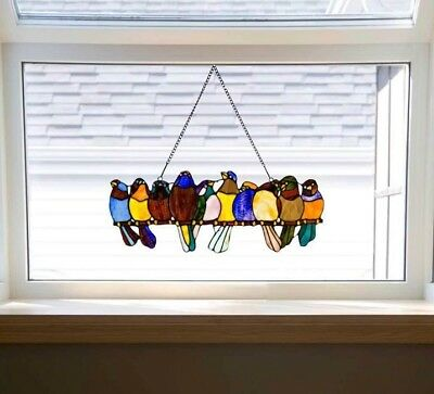 Stained Glass Suncatcher Window Panel Tiffany Style Colorful Birds On A Branch