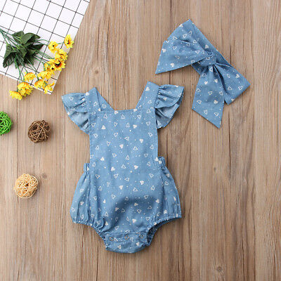 Newborn Infant Baby Girls Halter Floral Romper Jumpsuit Backless Clothes Outfits