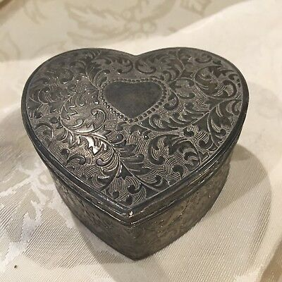 VINTAGE SILVER Plated Hand Carved Heart Shaped JEWELRY Box Red