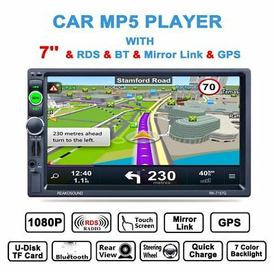 7'' 2DIN Car Touch Screen MP5 Player TV FM AUX Bluetooth Stereo Radio Camera GPS